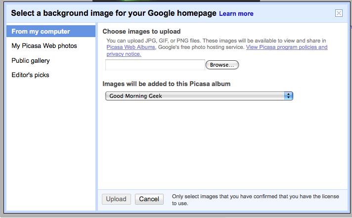 change your google background good morning geek
